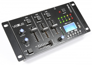 5-kanals mixer med Blåtand och inspelning. USB mediaspelare med MP3. 12V och 230V. Digital LED-display och 2 VU-mätare. 12 in/utgångar: USB, 2 mikrofoner, instrument, iPhone, PC/Mac, CD/skivspelare, h