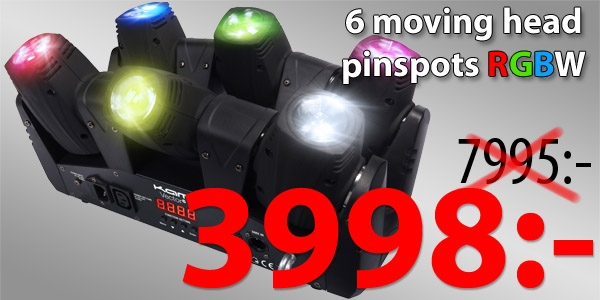 6 moving head pinspots RGBW CREE 6x10W LEDs. Synkroniserade, kan styras individuellt. Supersnabba motorer pan/tilt. 27-kanals DMX. LED-display och ställbara ljus-shower, många program. Varje CREE LED