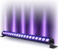 UV BLACKLIGHT med enorm, helt extrem styrka, 18x3W LED, dvs 54 Watt UV LED - motsvarar 400 Watt traditionell UV BLACKLIGHT. 9 DMX-kanaler. Mikrofon och musikstyrning. Förprogrammerade ljus-shower. 900