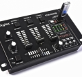 5-kanals mixer med USB-spelare och digital display. 12 in/utgångar: USB-sticka, 2 mikrofoner, instrument, iPhone, PC/Mac, CD/skivspelare, hörlurar. 15 reglage. 20Hz-20.000Hz. Talkover. Panorering. VU-
